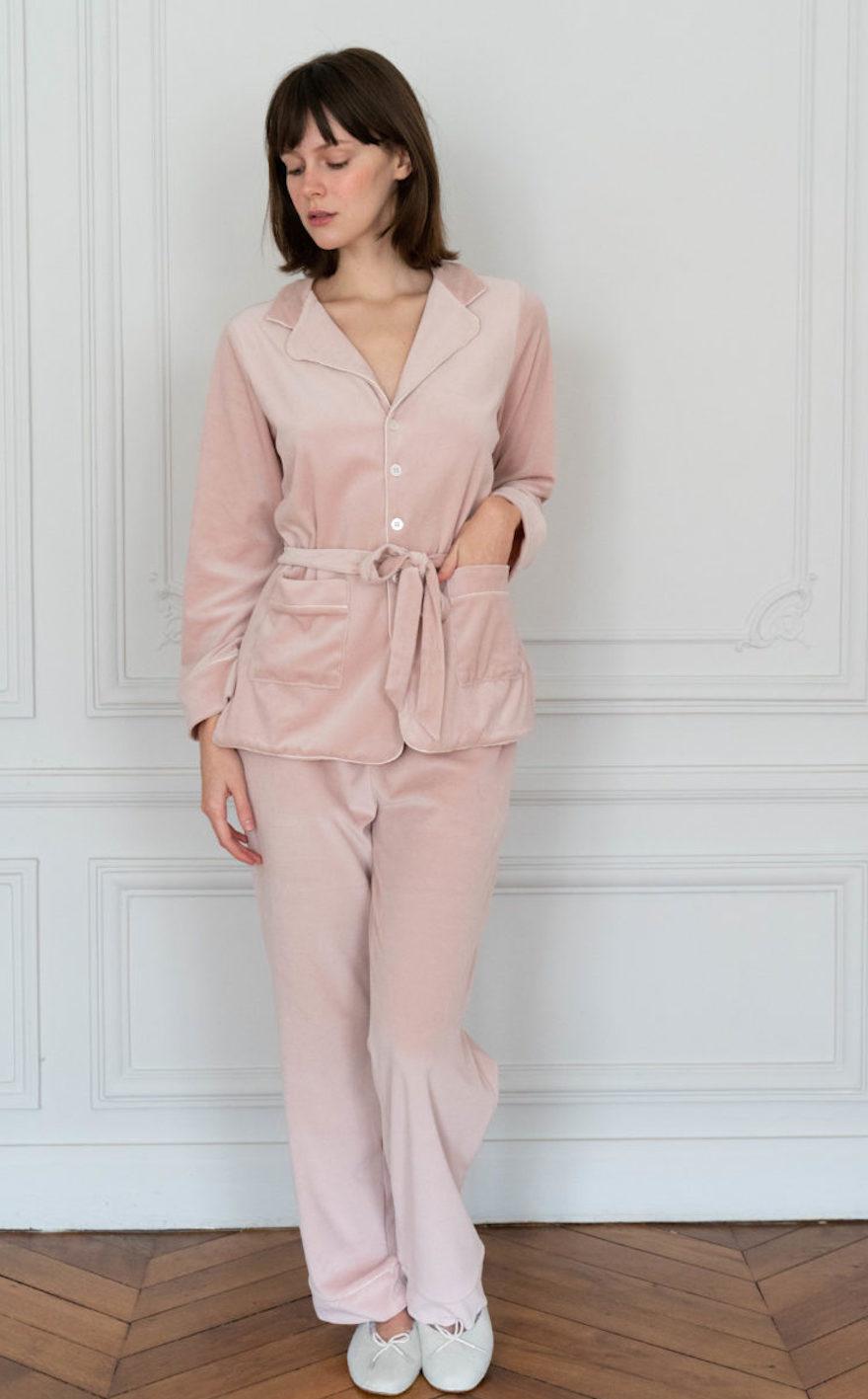 Carla Pink Velvet Pajamas Set-3