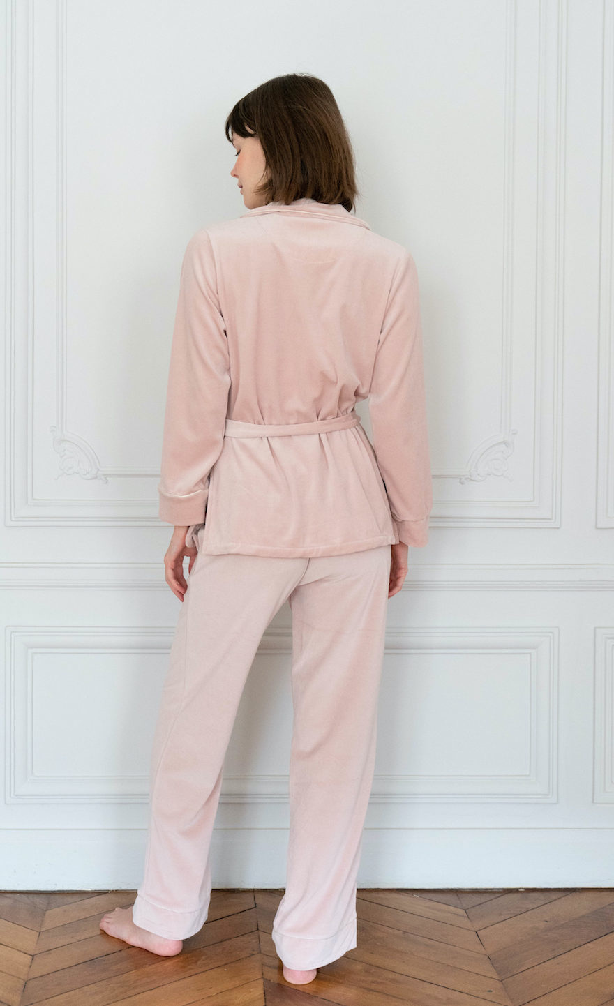 Carla Pink Velvet Pajamas Set-4