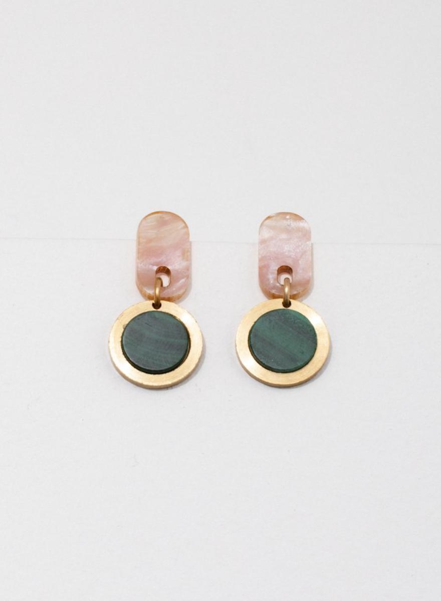 Ruth Pink Malachite Earrings-1