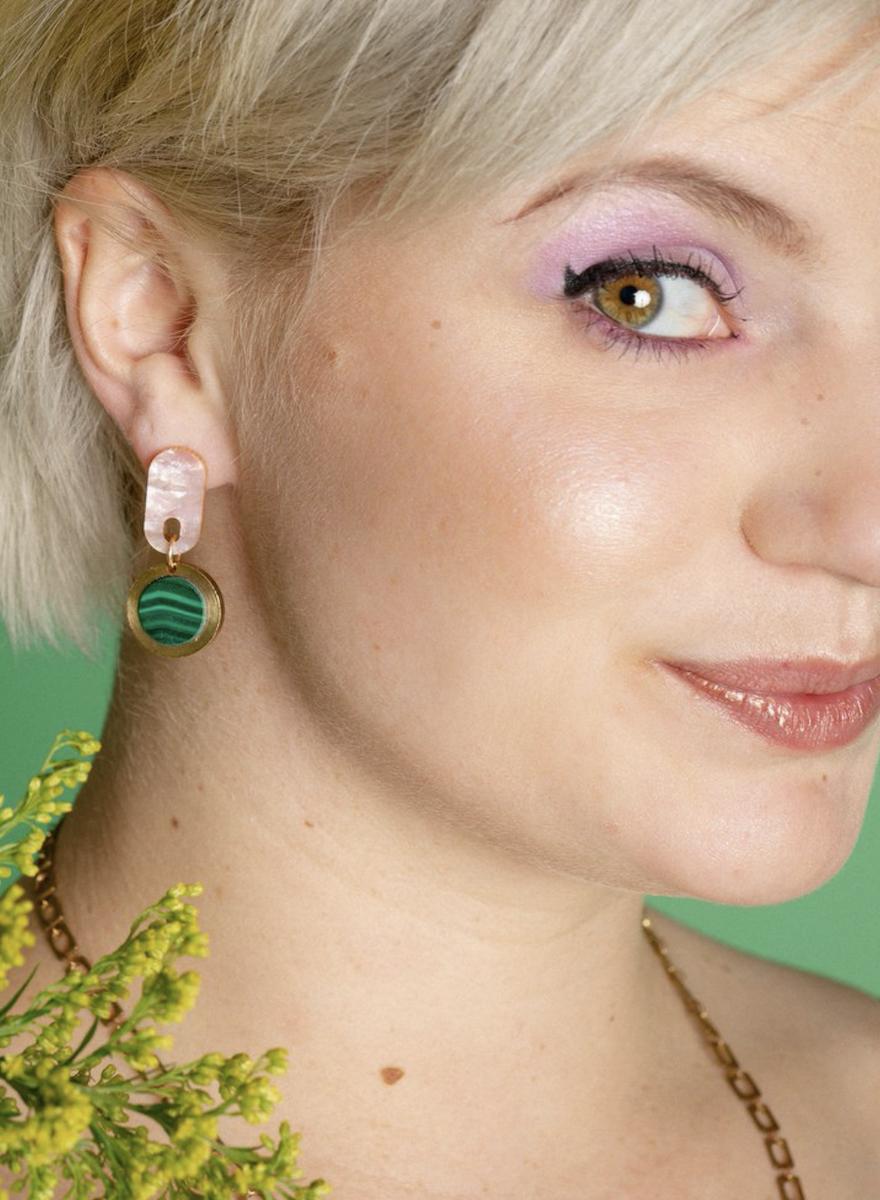 Ruth Pink Malachite Earrings-2
