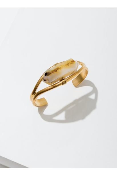 Crystal Cuff Heihua Agate Bracelet