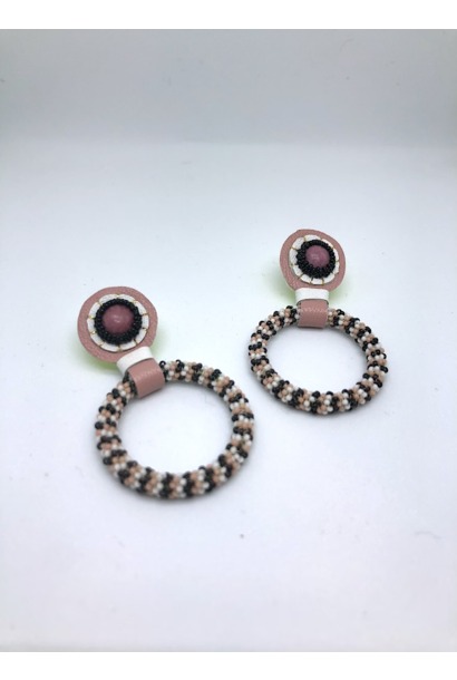 Beaded Hoop Earrings (Black/Pink)