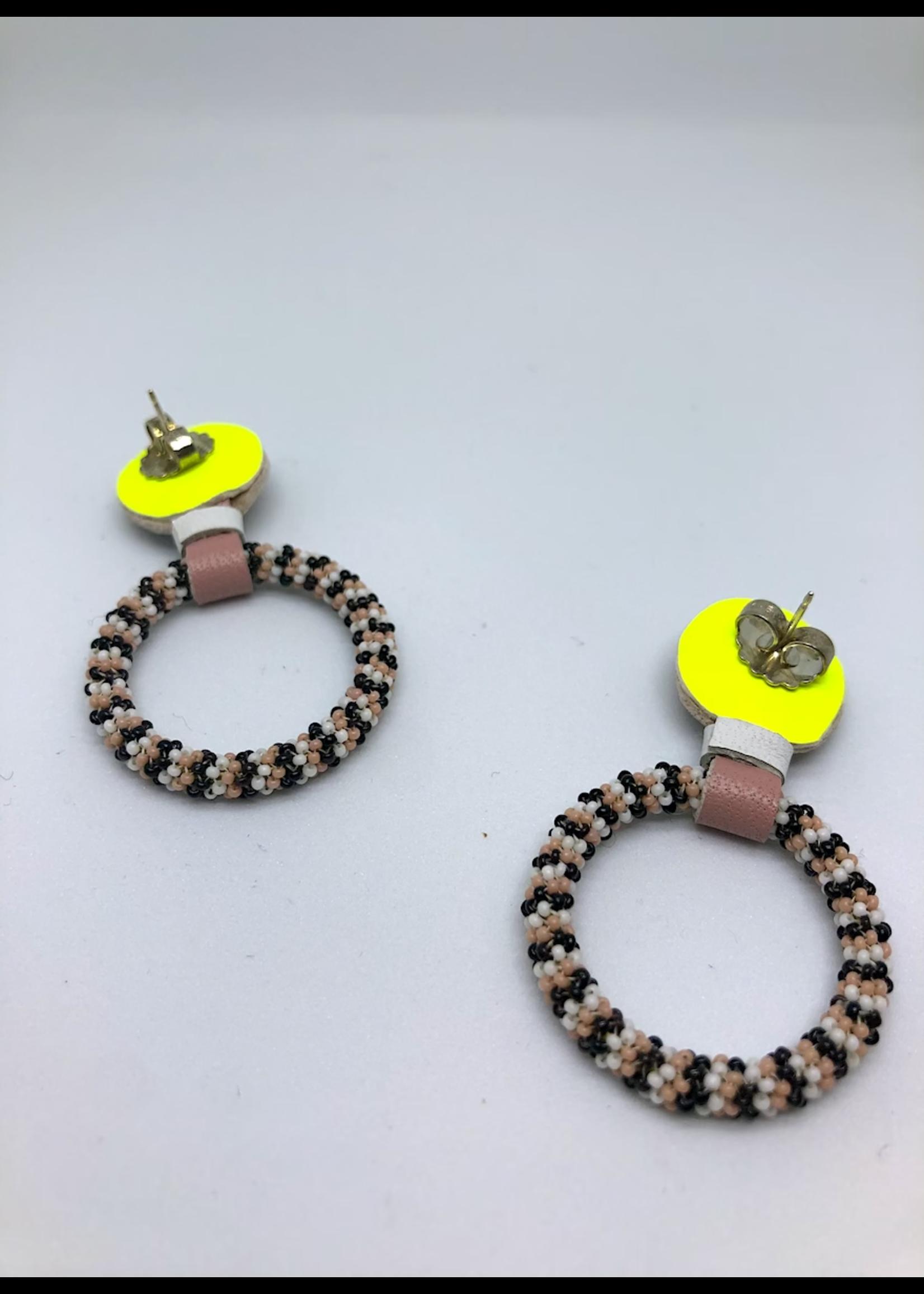 Robin Mollicone Beaded Hoop Earrings (Black/Pink)