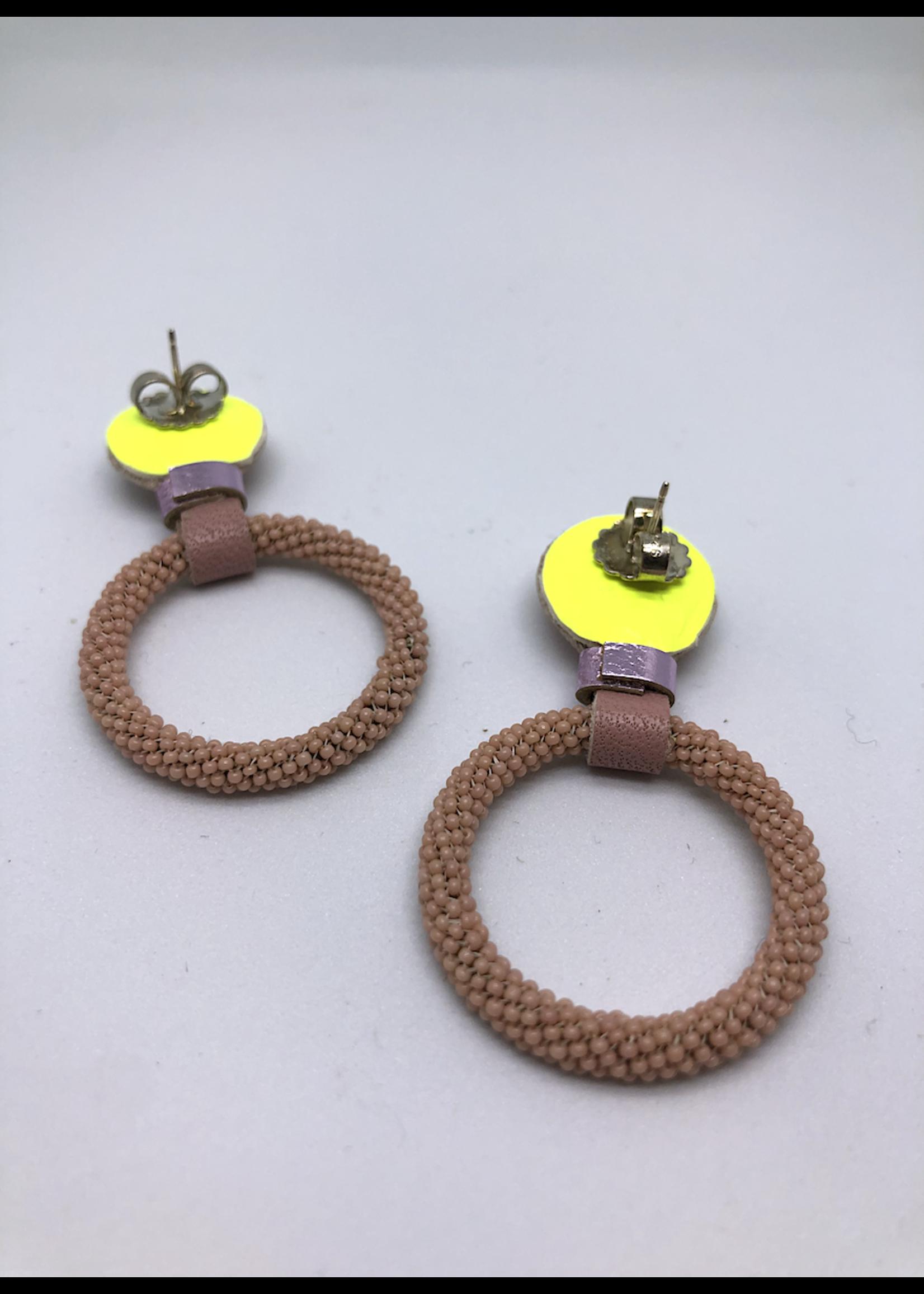 Robin Mollicone Beaded Hoop Earrings (Pink Monocrhome)