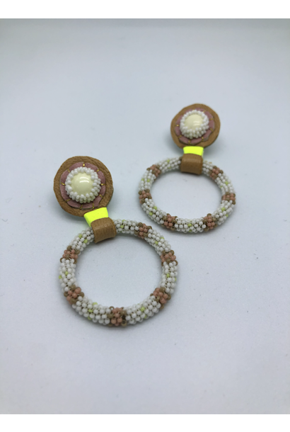 Beaded Hoop Earrings (Lemon/Pink)