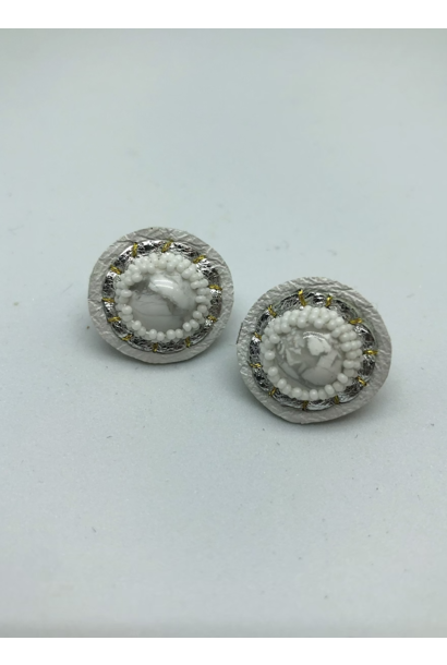 Small Stud Earrings (Howlite/White)