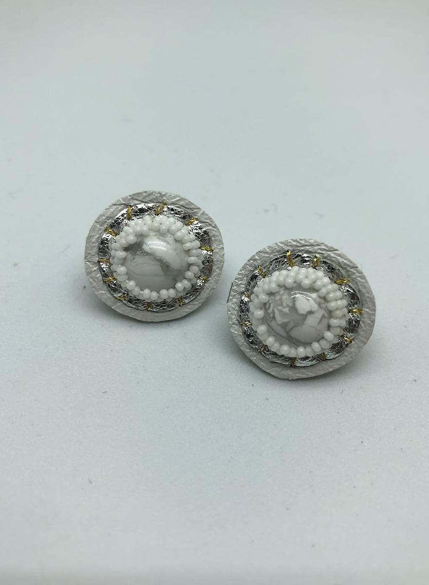 Small Stud Earrings (Howlite/White)-1