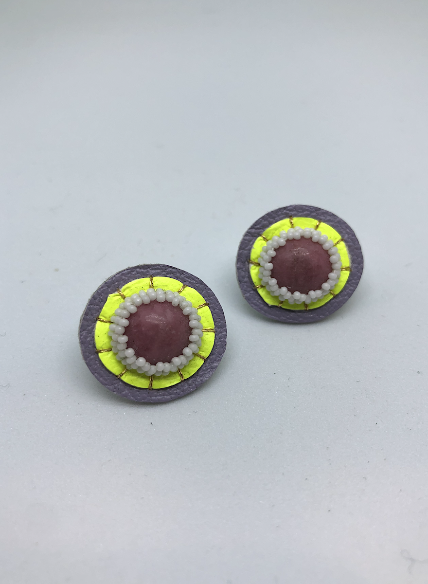 Small Stud Earrings (Rhodonite/Pink)-1