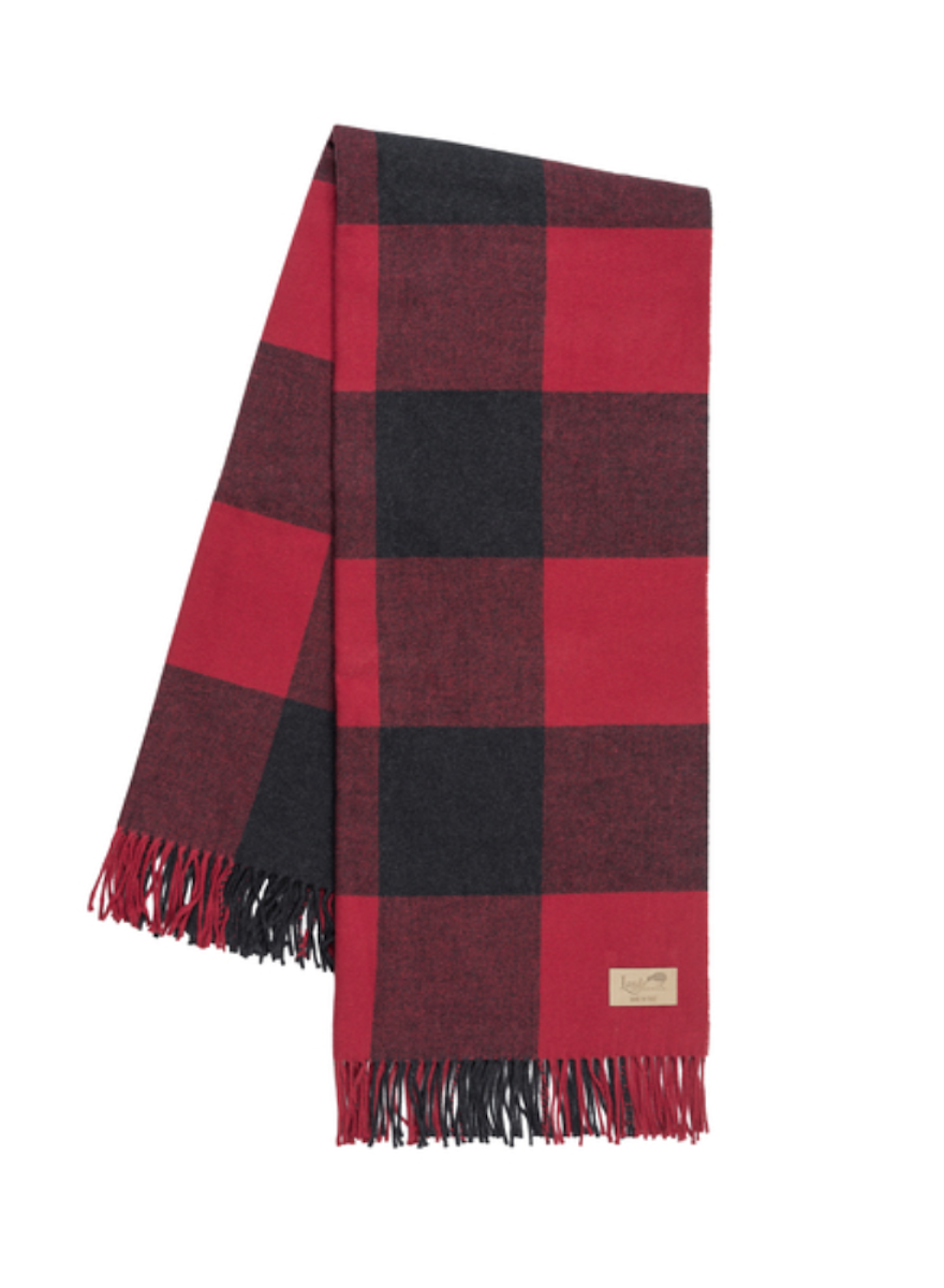 Red & Graphite Buffalo Check Throw-1