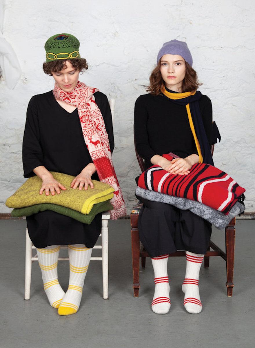Red Striped Cashmere Tube Socks-2