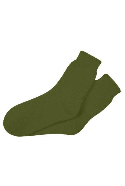 Green Cashmere Crew Socks