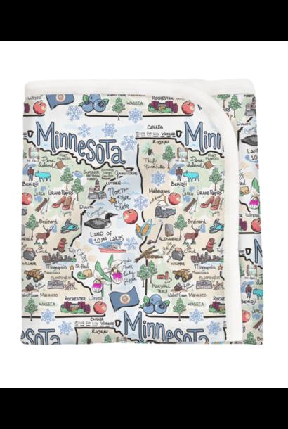Minnesota Map Baby Blanket