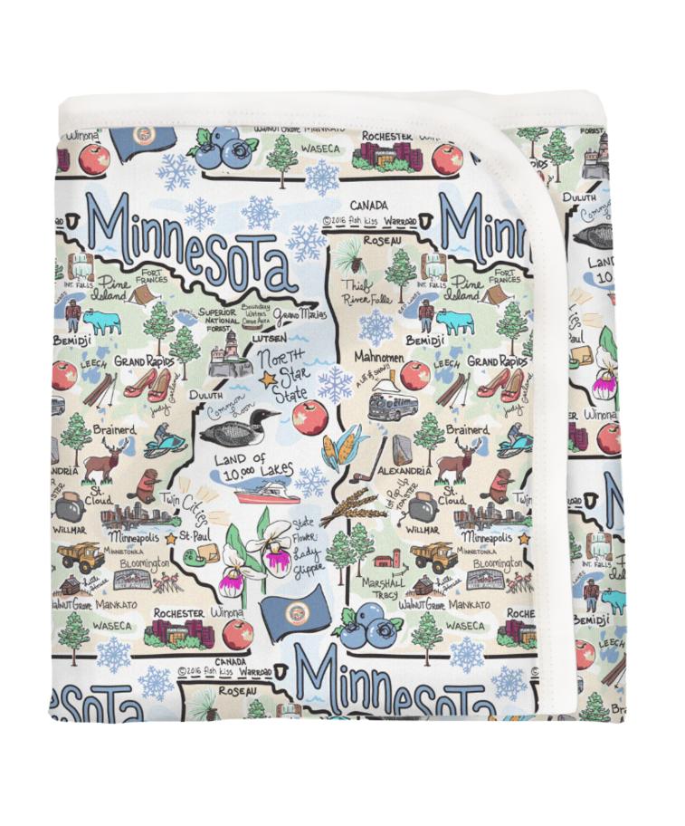 Minnesota Map Baby Blanket-1