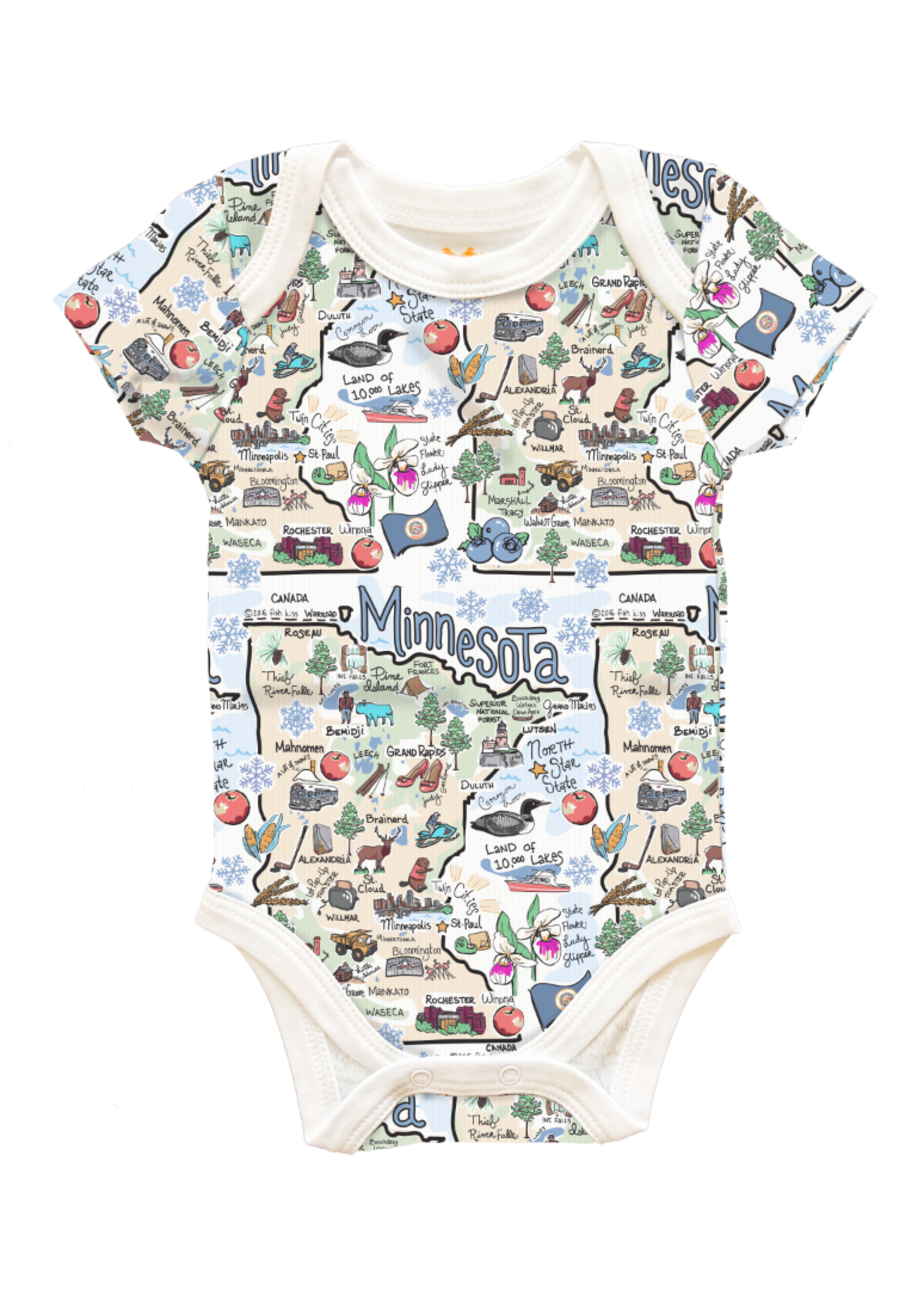 Minnesota Map Baby Onesies