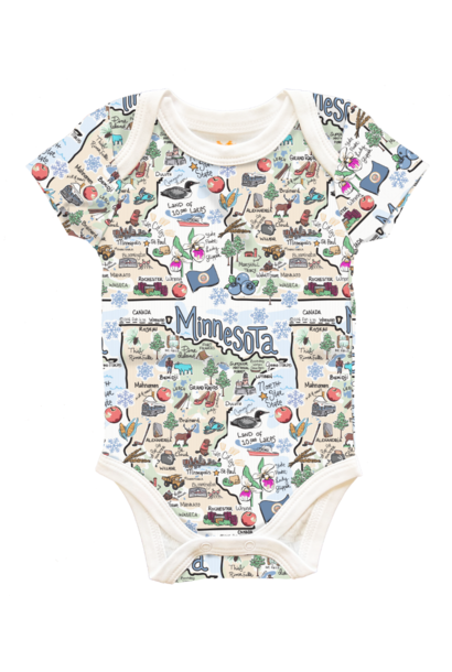 Minnesota Map Baby Onesies