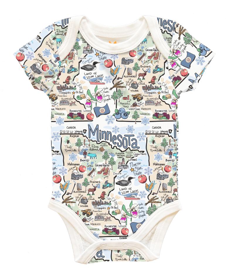 Minnesota Map Baby Onesies-1