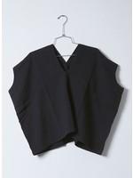 Atelier Delphine Black Crinkled Cotton Celeste Top