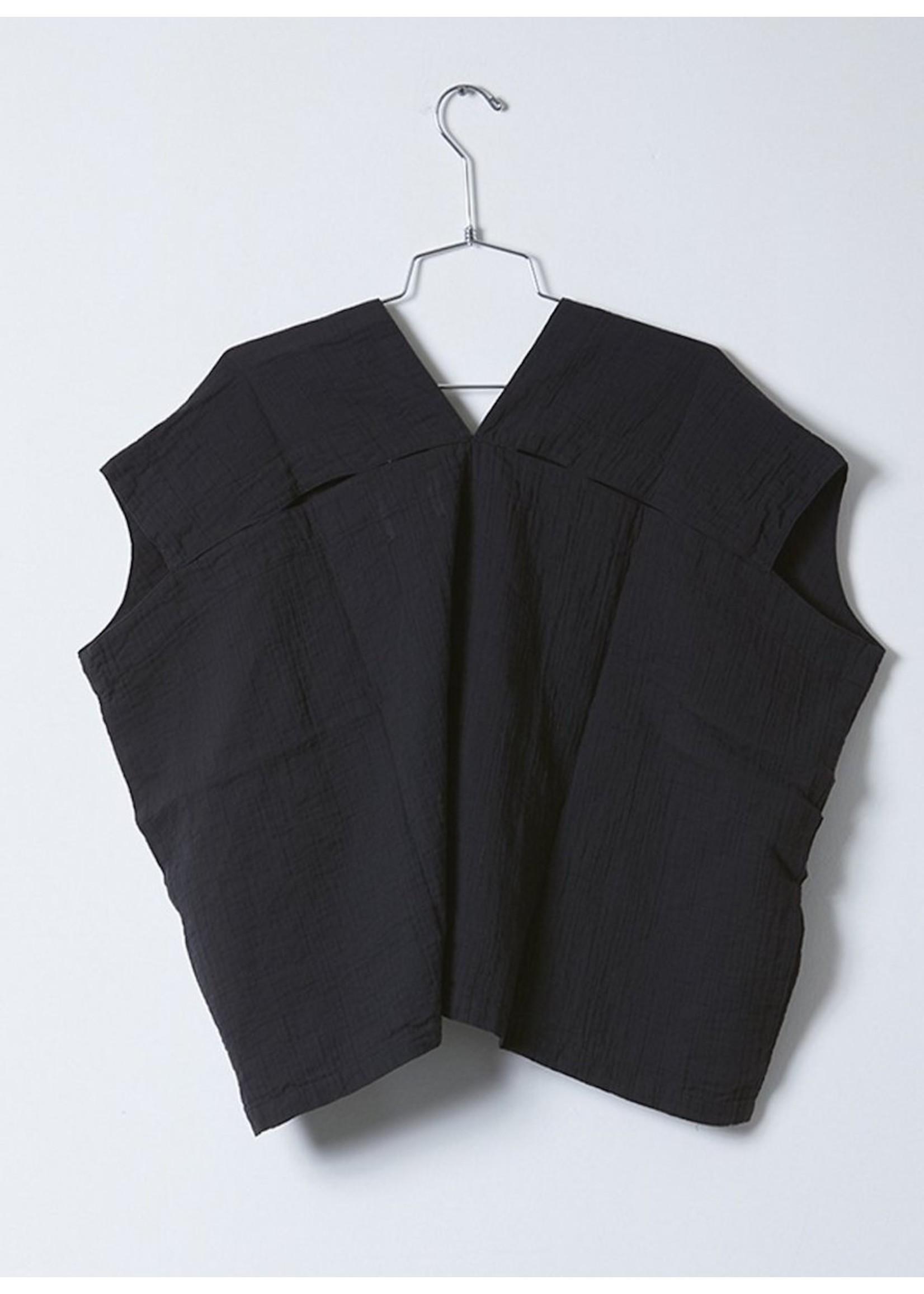Atelier Delphine Atelier Delphine Black Crinkled Cotton Celeste Top