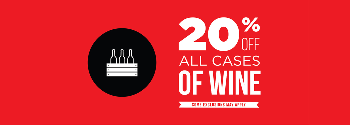 20 percent off case of wine