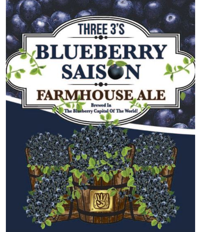 Three 3's Three 3's Blueberry Saison (4pk 16oz cans)