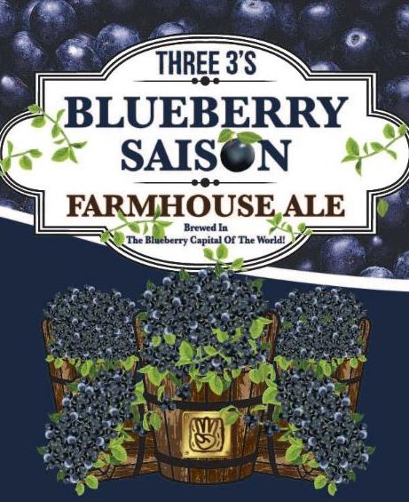 Three 3's Three 3's Blueberry Saison (4pk 16oz cans)