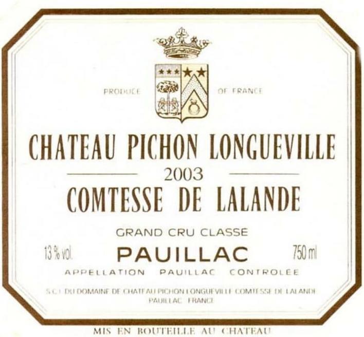 Chateau Pichon Longueville Comtesse De Lalande 2003