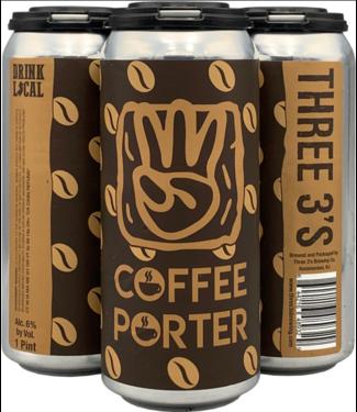 Three 3's Threes 3 Coffee Porter (4pk 16oz cans)