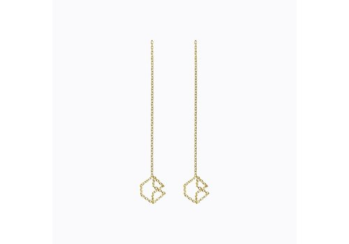 Shihara Cube Chain Pair Earrings 04s