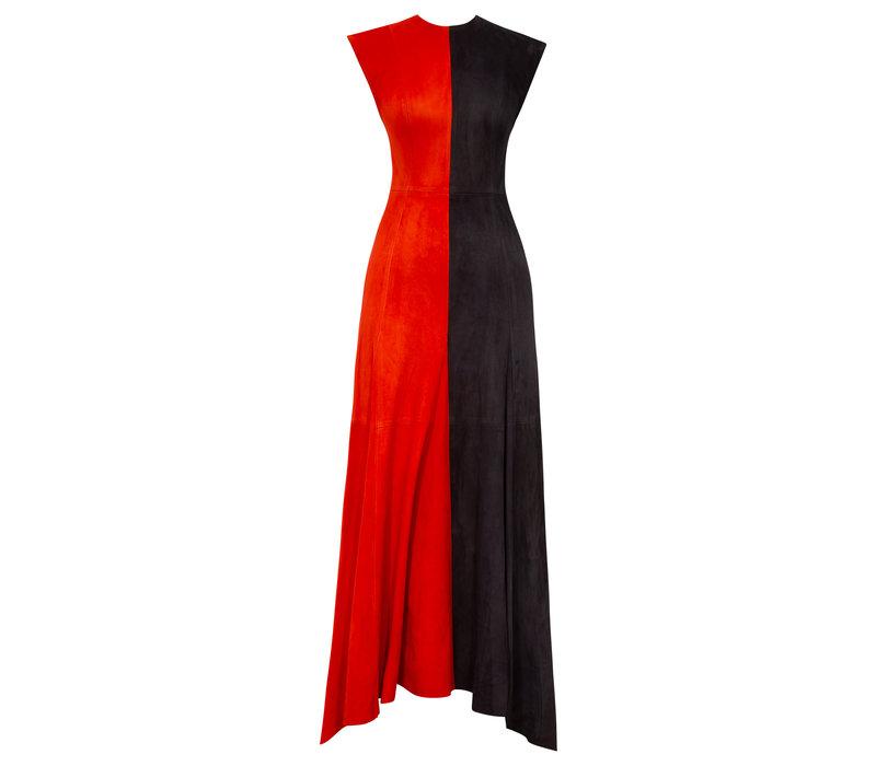 Alejandra Alonso Rojas Suede Two Tone Midi Dress