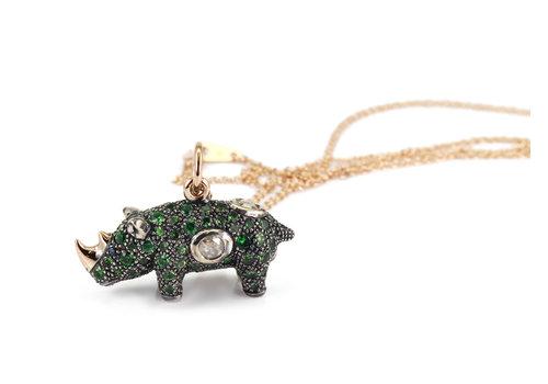 Bibi Van Der Velden Green Rhino Necklace