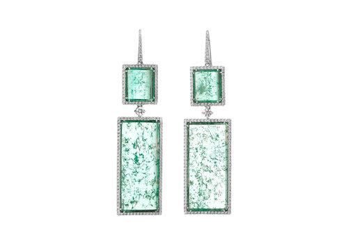 Muzo Emeralds Double Drop Atocha Earrings