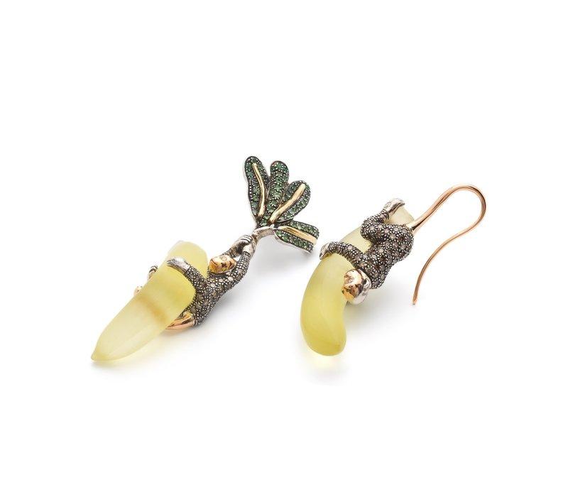 Bibi Van Der Velden Monkey on Banana Earrings