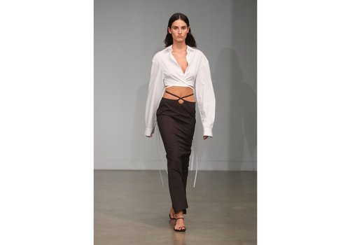Wrapped Cropped Tie Shirt