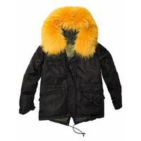 Mr and Mrs Italy Mini Down Black Jacket with Tangerine Murmansky Fur Hood
