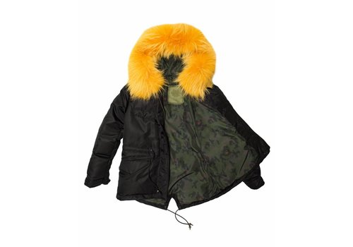 Mr and Mrs Italy Mini Down Black Jacket with Tangerine Murmansky Fur Hood