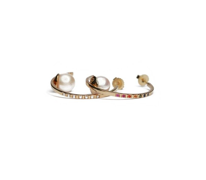 Joie DiGiovanni Floating Pearl Hoop w/ Diamonds