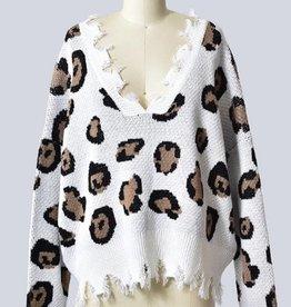 LOSA Leopard Print Distressed Sweater -