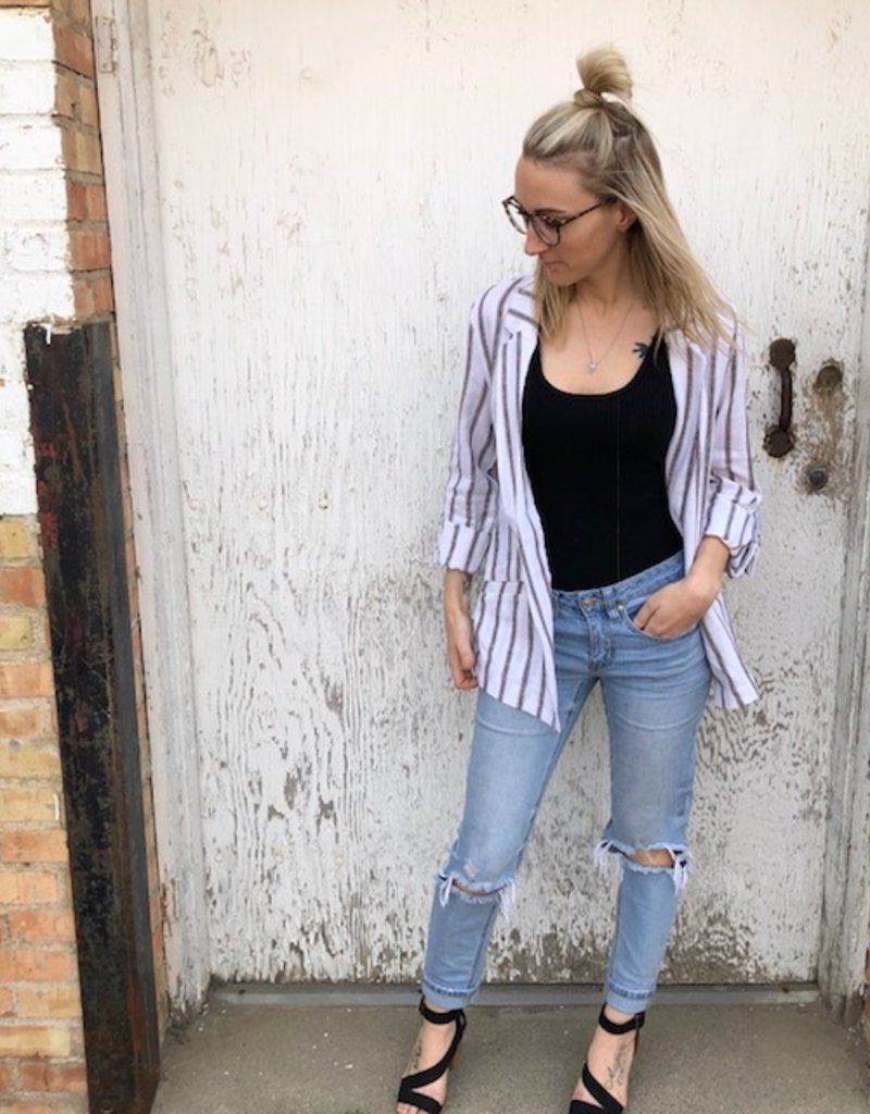 LOSA Linen Striped Blazer