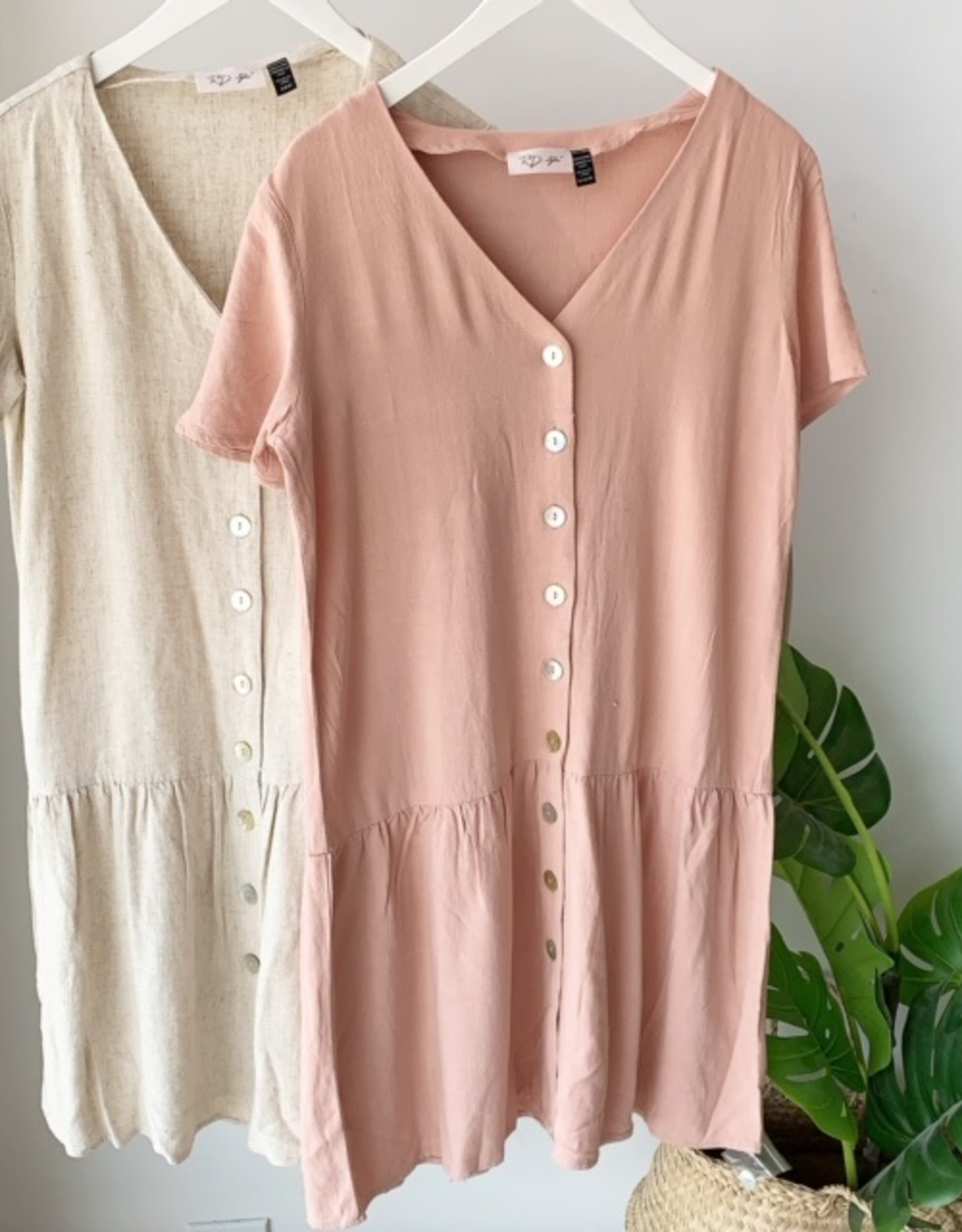 RD International Linen Button Down Dress