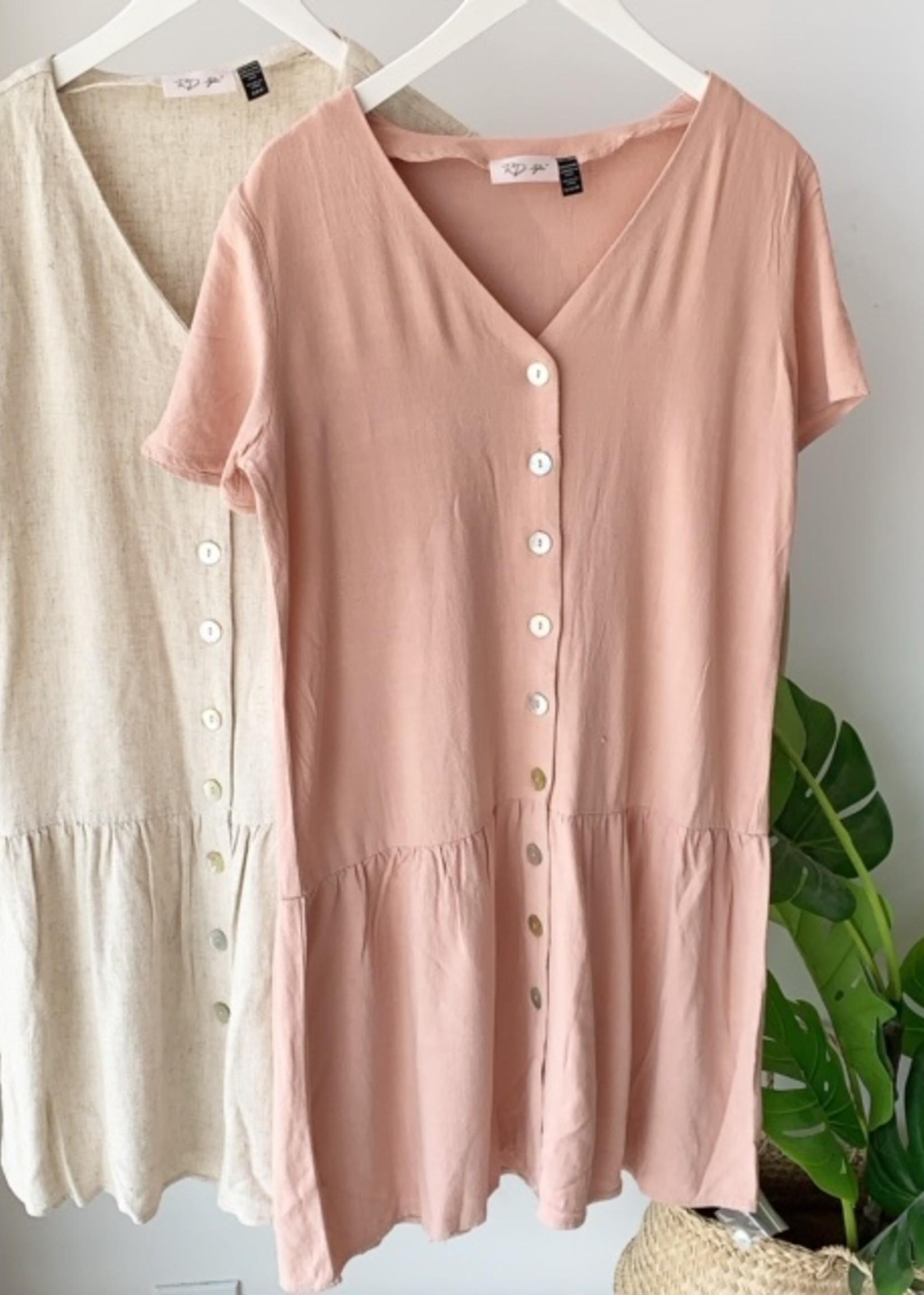 RD International Linen Button Down Dress