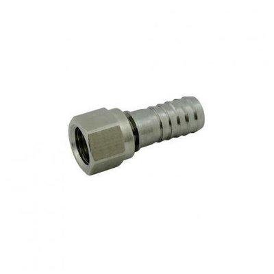 "Foxx Equipment Swivel Nut Hose Stem - Stainless Steel - 1/4"" FFL x 3/8"" barb"
