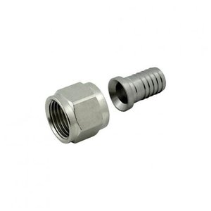 "Foxx Equipment Swivel Nut Hose Stem - Stainless Steel - 1/2"" FFL x 1/2"" barb"