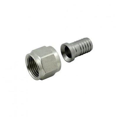"Foxx Equipment Swivel Nut Hose Stem - Stainless Steel - 1/2"" FFL x 1/2"" barb"