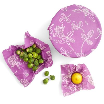 Urban DIY Bee's Wrap Reusable Food Wraps - Clover Print 3 pack Assortment