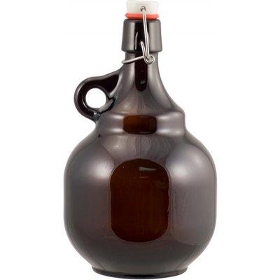 Beer and Wine Amber Flip Top Palla Growler - 2 Liter
