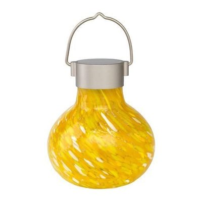 Home and Garden Soji Glass Solar Tea Lantern - Saffron
