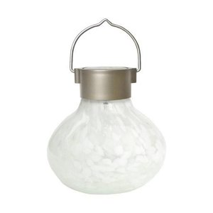 Home and Garden Solar Glass Tea Lantern - White