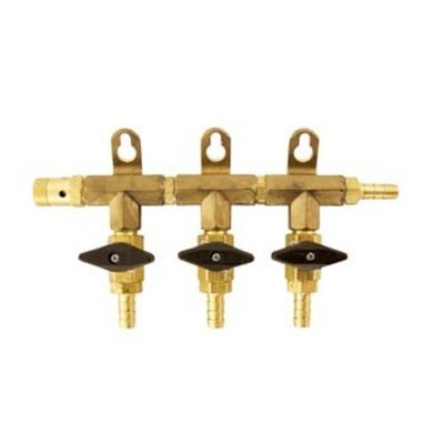 Beer and Wine Co2 Gas Manifold - 1/4 Inch outlet x 5/16 inch inlet - 3 outlet