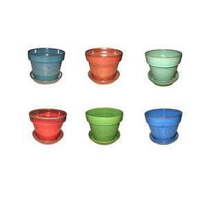 Pottery Floral Pot w/Attached Saucer - Assorted Colors - 2.5 inch