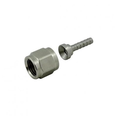 Beer and Wine Swivel Nut Hose Stem - Stainless Steel - 1/4 inch nut x 1/8 inch barb